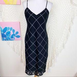 1. State lace trim windowpane plaid dress Medium